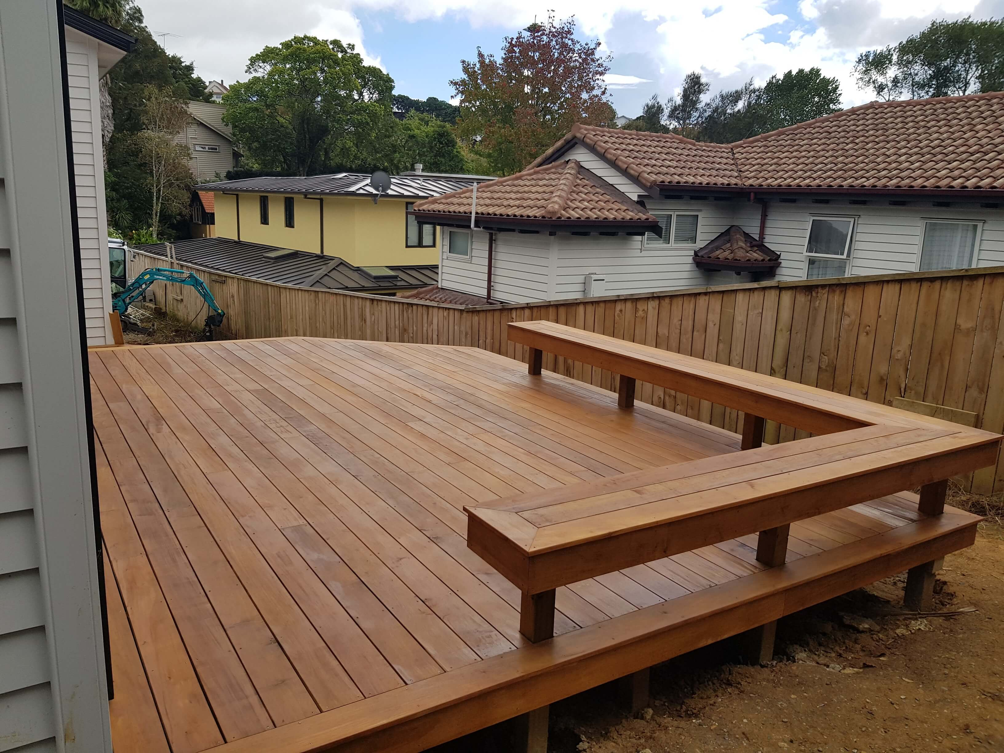 Deck with in built bench seat