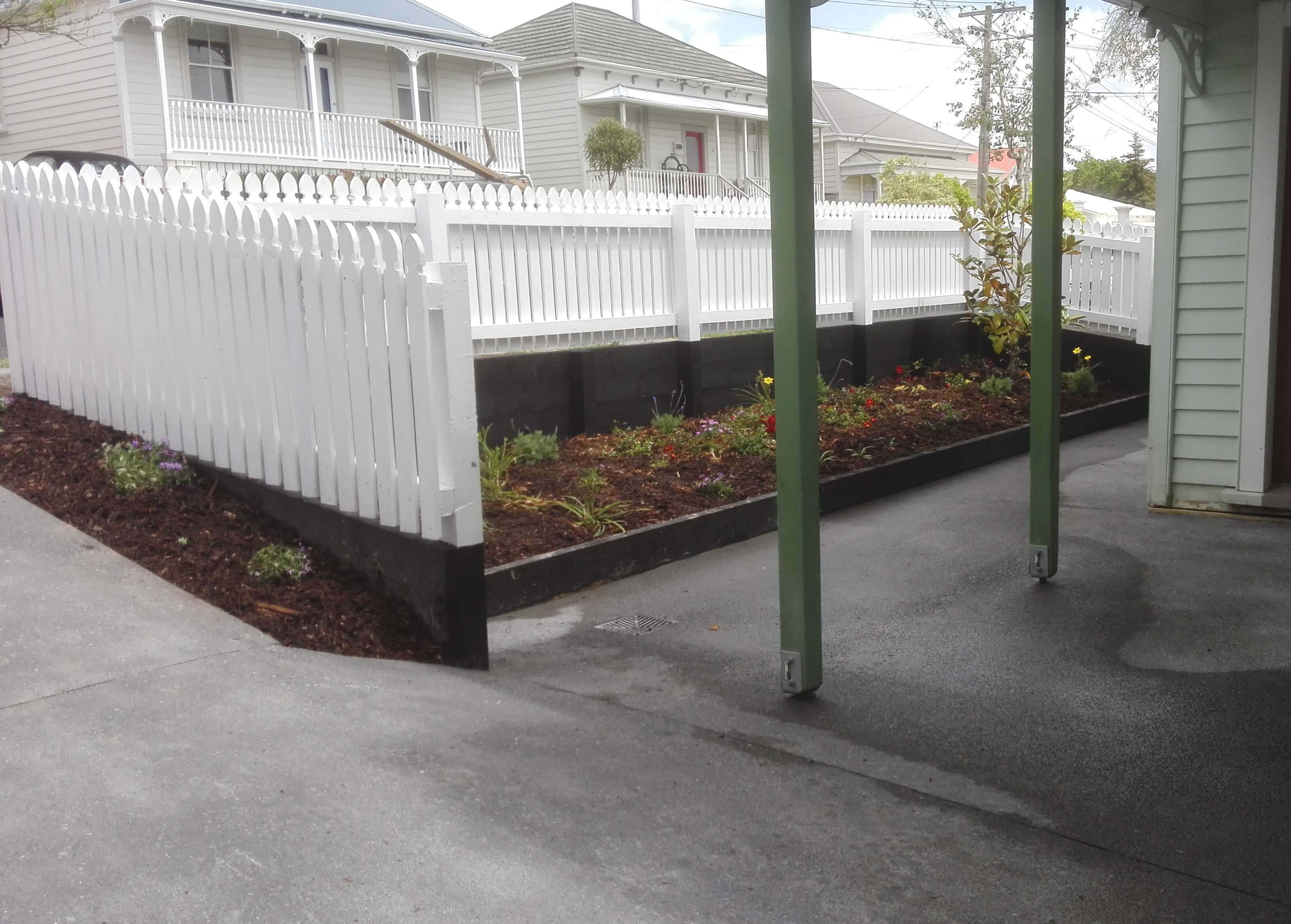 Concrete and fence after